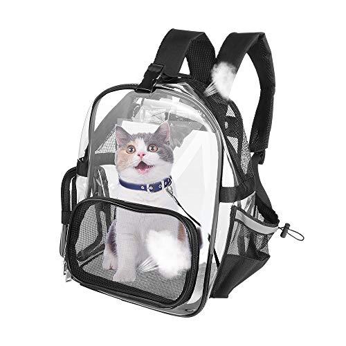 SlowTon Klare Rucksack, atmungsaktive Katze Rucksack mit Mesh-Fenster Katze Tasche mit Reißverschluss Tasche Wasserflasche Halter Pet Carrier transparente Tasche für Katzen Gewicht bis zu 10lbs