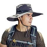 SPECOOL Cappello da Sole per Uomo Estate, Protezione UV Boonie Impermeabile Cappello da Sole Cappello Largo da Spiaggia Cappello da Safari Cappello da Pesca Pieghevole (Dark Grey 2)