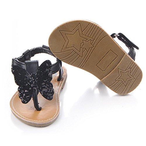 BZLine® Baby Mädchen Baby Schuhe Mode Schuhe Schmetterling-Knoten Sandalen Schwarz