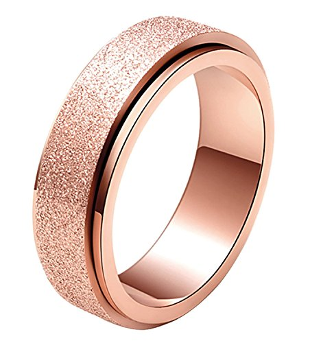 ALEXTINA Women's 6MM Stainless Steel Ring Spinner Band Sand Blast Finish Rose Gold Size H 1/2