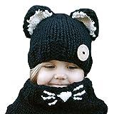 Baby Hüte Kinder Mütze Süße Warme Feinstrick Beanie Mütze Baby Hat für das ganze Jahr, weicher Stoff, #1 Schwarz, one size