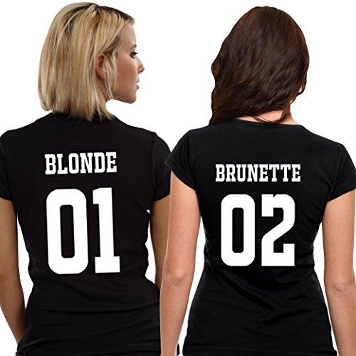 *Best Friends Passende Kurzarm Shirt Für 2 Damen mit Lustige Aufdruck Blonde and Brunette von VivaMake®*