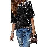 Damen Bluse IHRKleid® Frauen Strapless Pailletten beiläufige lose T-Shirt Tops Langarm weg von der Schulter Hemd Bluse (L, Schwarz)