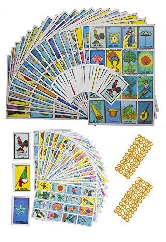 Preisvergleich Produktbild 2 Loteria Mexicana Sets (verschiedene Größen),  1 Jumbo Set (20 Boards,  Karten und 80 Marker) & 1 Tragbares Set (20 Boards und Karten). Spaß für die ganze Familie
