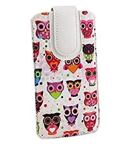 Emartbuy Multi Owls Premium PU Leather Slide in Pouch Cover ( LM2 ) With Pull Tab Suitable For BLU Studio Pro