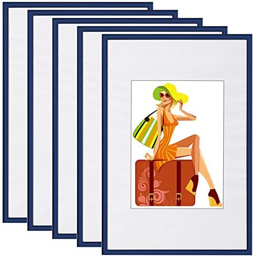 WOLTU BR9862bl-5 Bilderrahmen 5er Set mit Passepartout Kunststoff Rahmen, Glasvorderseite, Blau, 21x29,7 cm(DIN A4)