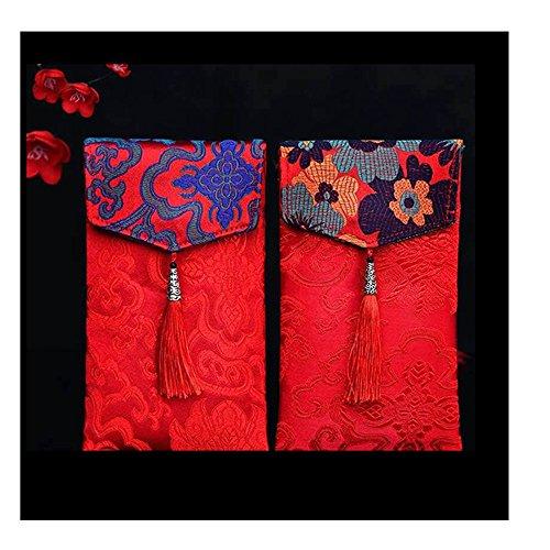 Lilith Li 2pc Chinesische Element Festive Seide rot Briefumschläge Premium Geschenk-Umschlag Designs Geld Halterung für Weihnachten Ostern Geburtstag Hochzeit Einladung Briefumschläge type-2 rot