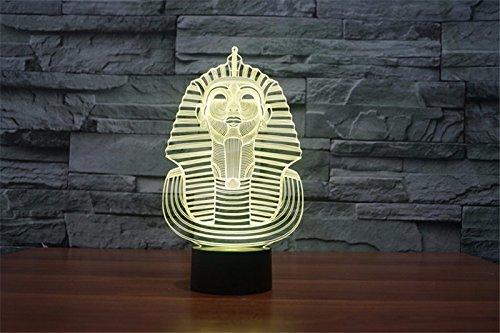 3d Illusion Egipto esfinge Faraon Lámpara luces de la noche ajustable 7 colores LED 3d Creative Interruptor táctil estéreo visual atmósfera mesa regalo para Navidad 5