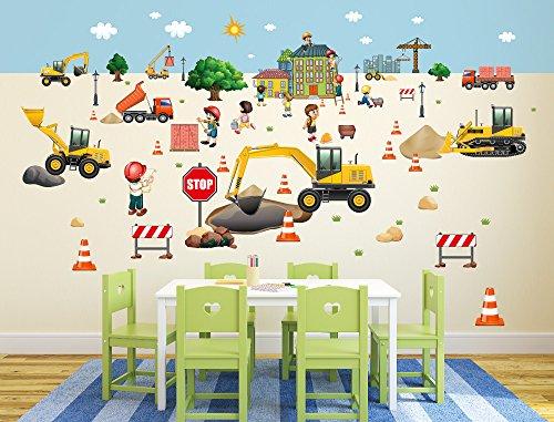 """I-love-Wandtattoo WAS-10025 Wandsticker Kinderzimmer \""""Baustelle\"""" Wandtattoo Wandaufkleber Sticker Aufkleber"""