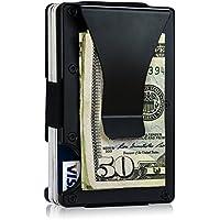 Porte-monnaie noir Portefeuilles porte-cartes porte-cartes minimaliste mince, alliage d'aluminium Aviation à l'extérieur avec plastique ABS léger à l'intérieur, RFID blocage pour les hommes des femmes
