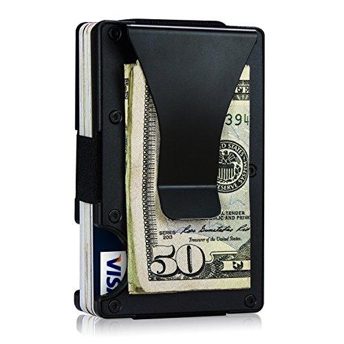 Schwarzes Geld-Klipp-Kasten-Geldbörsen-dünner minimalistischer Visitenkarte-Halter, Luftfahrt-Aluminiumlegierung draußen mit leichtem ABS-Plastik nach innen, RFID, der für Mann-Frauen blockiert (Gurt Kuss)