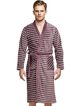 SUxian Gran Albornoz de Invierno de los Hombres Coral Fleece Rayas de Tipo Largo Pijama Estampado camisón