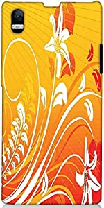 Snoogg Swirl And Floral Elements Red And Yellow Designer Protective Back Case...