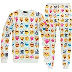 Pijama Emoji Emoticono Confortable Invierno Temporada Moda Mujer Hombre (M, Blanco)