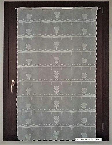 Scheibengardine mit Polyesterstoff Effekt leinen-farbe Natürliche weiße- vorhänge panel - Halbtransparenter Vorhang - Breite cm 58 - 87 (87 X 96 cm) (Weißes Leinen Vorhänge 96)