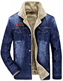 Minetom Inverno Parka Retro Caldo Giacche Capispalla Jeans Giacca Da Uomo Outwear Casual Manica Lunga Jacket Azzurro B EU S