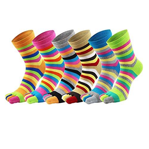 No-show Socke Womens Wolle (Fünf Zehensocken Baumwolle Leichte 5 ~ 6 Paar für Männer und Frauen (Women Size 6Pairs))
