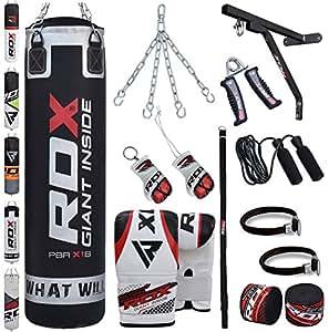RDX Sacco da Boxe Pieno Arti Marziali MMA Sacchi Pugilato Kick Boxing Muay Thai con Guantoni Allenamento Catena Supporto Muro 17PC Punching Bag Set 4FT, 5FT