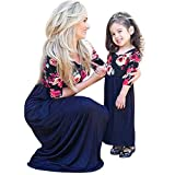 Minetom Mütter und Tochter Familie Sommerkleid Streifen Maniche Tromba Kleider Spitze MiniKleid A Linie Strandkleid Partykleid C Blau 100 (Tochter)