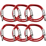 "Seismic Audio New 6 Pack Red 1/4"" TRS 2' Patch Cables Red - SATRX-2Red6"