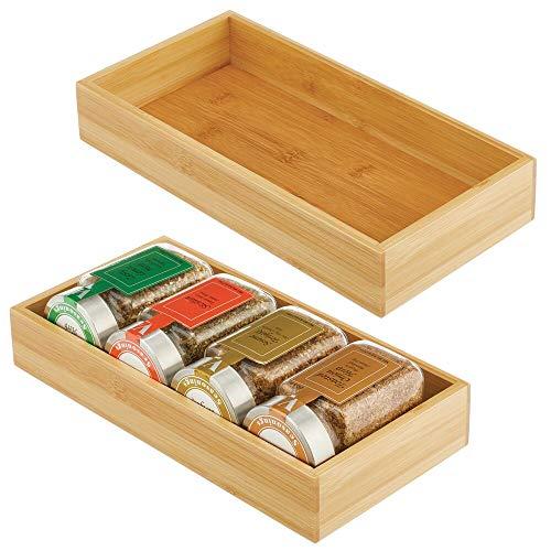mDesign Set da 2 Scatole portaoggetti Contenitore legno di bambù per armadi cassetti e superfici Cassetta porta tutto dal design aperto materiale