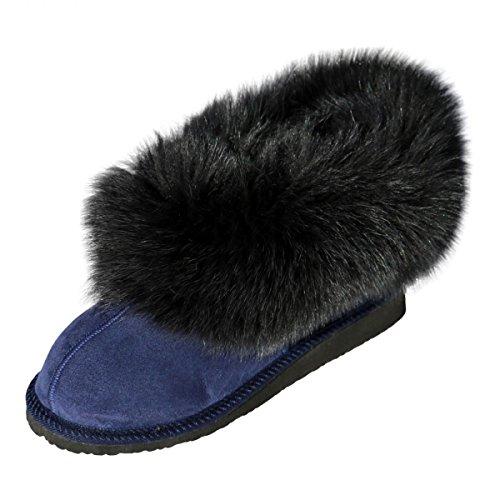 Peau de mouton Chaussons - HOLLYWOOD Femmes Chaussures avec laine mit Renard bleu foncé