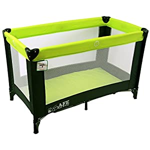 iSafe Rest & Play Luxury Travel Cot/Playpen - Lime (Black/Lime) 120 cm x 60 cm   1