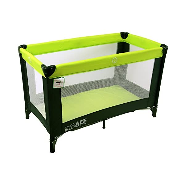 iSafe Rest & Play Luxury Travel Cot/Playpen - Lime (Black/Lime) 120 cm x 60 cm Rest & Play Luxury Travel Cot / Playpen Four Mesh Side Panels Allow Ventilation & Easy Viewing Of Your Little One Complete With Handy Carry Bag Complete With Shoulder Handle Straps Or Carry Handle 1