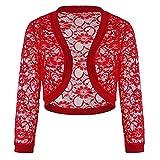 DY.LIN Liquidation Dentelle Cardigan Sans Couture Shaper Drapé Décontracté T-shirt à Ourlet Irrégulier Couleur Unie Capes Echarpes Châles Etoles(Rouge)