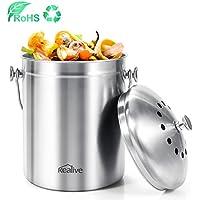 Kealive Cubo para Compost, Basura de Cocina y Compost Con la Tapa, Papelera a