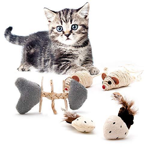 5-teiliges Katzenspielzeug Set Playfun aus natürlichen Materialien, Sisalmaus, Katzenminze, Bambus