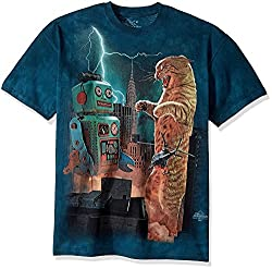 The Mountain Catzill Vs. Robot Adult T-Shirt, Green, Large