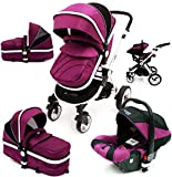 i-Safe System - Plum Trio Travel System Pram & Luxury Stroller 3 in