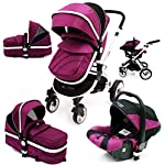 i-Safe System - Plum Trio Travel System Pram & Luxury Stroller 3 in 1 Complete with Car Seat