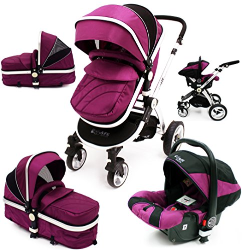 i-Safe System – Plum Trio Travel System Pram & Luxury Stroller 3 in 1 Complete With Car Seat 51uwpvPYJYL