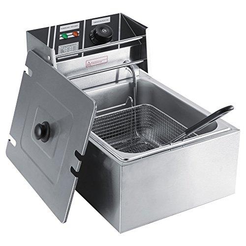 Soulong friggitrice elettrica professionale in acciaio inox da 6litri con cestino per uso commerciale e domestico spina della ue