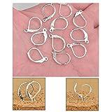 Dealglad 100 pezzi rame placcato in argento, ganci per orecchini con apertura posteriore.