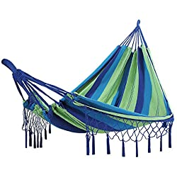 Songmics Hamaca con Flecos Polialgodón Relajar en Jardín Camping Balcón 220 x 150 cm Carga de 300 kg Colorido GDC16L