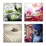 Feng Shui Bilder Set C schwebend, 4-teiliges Bilder-Set jedes Teil 29x29cm, Seidenmatte Optik auf Forex, moderne Optik, UV-stabil, wasserfest, Kunstdruck für Büro, Wohnzimmer, XXL Deko Bild