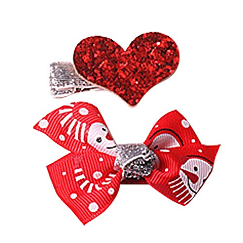 a3c6a91784938 Hosaire 2Pcs Noël Pince à Cheveux Bébé Fille Nœud Papillon Père Noël  Barrettes Accessoire de Cheveux