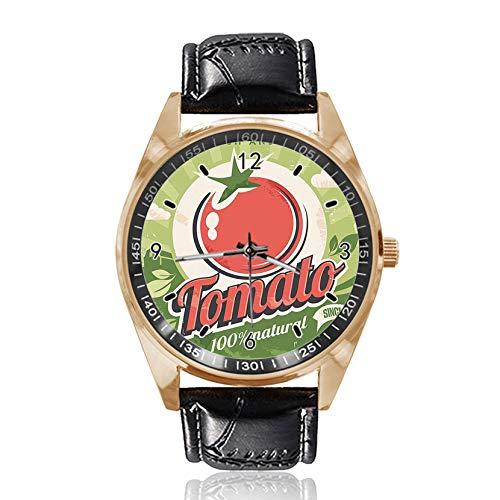 Tomato Poster Custom Design Armbanduhr Analog Quarz Gold Zifferblatt Classic Lederband Damen Herren Armbanduhr -