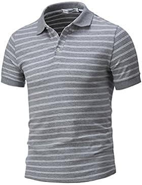 [Patrocinado]LIANIHK raya Camiseta Polos Hombre Mangas Cortas Algodón Casual Deporte Poloshirt
