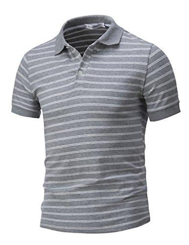 LIANIHK klassisch Streifen Polo Herren Baumwolle Freizeit Poloshirt Kontrastfarben kurzarm T-shirt M - 3XL Grau
