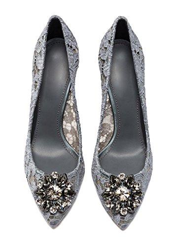 uBeauty Damen Stilettos Hell Spitzen Pumps Luxus High Heels Hochzeitsschuhe Spitze Zehen Slip On Sandalen Grau