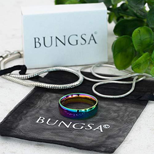 Bungsa® Regenbogen Ring Edelstahl klassisch bunt für Damen & Herren 49-67 (Fingerring Partnerringe Verlobungsringe Trauringe Damenring Chirurgenstahl Frauen Männer) - 3