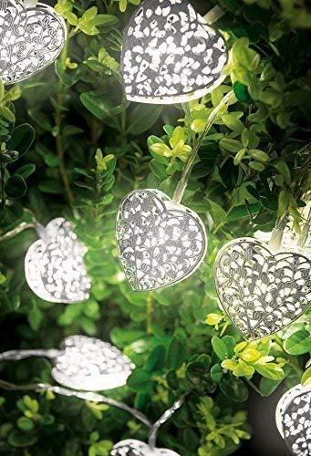 Wunderschöne Lichterkette Außen Batterie Garten Beleuchtung auto ein aus warmweiß mit Timer batteriebetrieben warmweiße Lichterkette mit 10 LED Herzen - tolle Lichterkette - für innen und außen geeignet - stimmungsvolle Weihnachtsbeleuchtung - indoor und outdoor einsetzbar