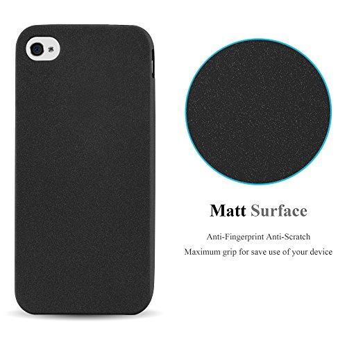 Cadorabo - TPU Frosted Matte Silikon Hülle für >             Apple iPhone 4 / 4S             < - Case Cover Schutz-Hülle Bumper in FROST-DUNKEL-BLAU FROST-SCHWARZ