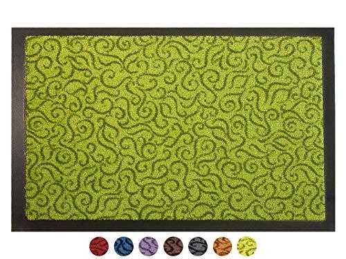 Schmutzfangmatte Türvorleger BRASIL Sauberlaufmatte - 40x60 cm, Grün, Fußmatte Rutschfest, Waschbar, für Innen und Außen Geeignet