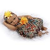 Yesteria Muñeca Renacido Africano Chica Cuerpo Completo de Silicona Traje de Estilo Bohemio 27 cm