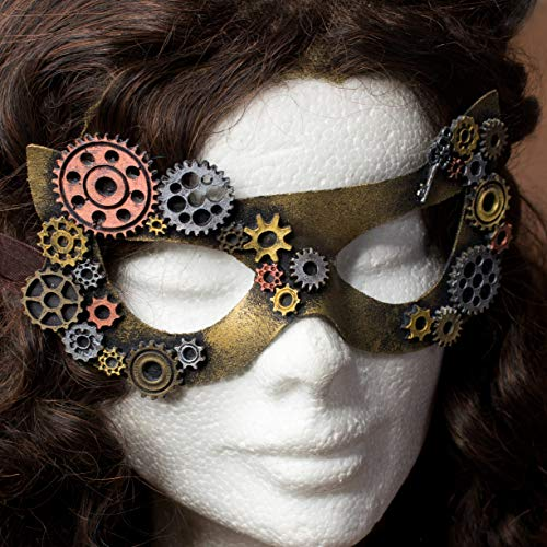 Keene Steampunk-Maske, Unisex-Maske für Cosplay, Mottoparty, Karneval, Halloween, Karneval mit Goldverzierungen Bronze-Silber-Kupfer